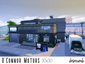 Sims 4 — Mechanic Shop/Retail by deseraemb — O'Connor Motors mechanic shop can be used as a functional live-in retail