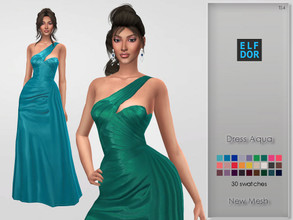 Sims 4 — Dress Aqua by Elfdor — - 30 swatches - teen to elder - formal, party - base game compatible - maxis match Hope