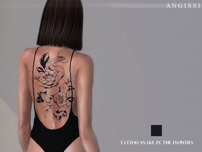 Sims 4 — Tattoo-Snake in the flowers by ANGISSI — *1 colors *Category-tattoo on the back *HQ compatible *FEMALE+MALE
