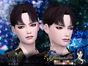 Sims 4 — Simjo_S1_Gaon(Remaster) by KIMSimjo — * New Hair Mesh(Alpha) * 18 Swatches(EA Colors Tag) * All LODs * Male T-E