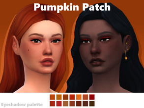Sims 4 — Pumpkin Patch Eyeshadow Palette by EvaDotG — ~Pumpkin patch eyeshadow palette. ~14 swatches. ~Natural / Fall