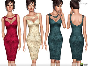 Sims 3 — Paisley Patterned Lace Dress by ekinege — Sleeveless pencil dress with lace-trimmed cutout details the upper
