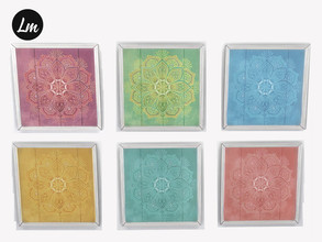 Sims 4 — Boho art Mandala by Lucy_Muni — Wooden picture in 6 swatches Sims 4 basegame recolour