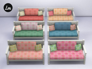 Sims 4 — Boho Loveseat by Lucy_Muni — Wooden loveseat in 6 swatches Sims 4 basegame retexture