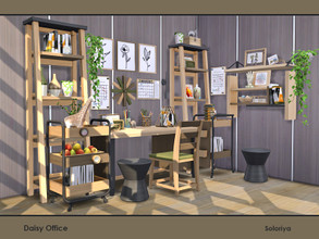 Sims 4 — Daisy Office by soloriya — A set of furniture for your office rooms. Includes 10 objects, has 2 color palettes.