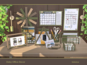 Sims 4 — Daisy Office Decor by soloriya — A set of decorative items for your office rooms. Includes 10 objects, has 2