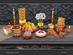 Sims 4 — Halloween 2020 by soloriya — A set of decorative food for your Halloween parties. Includes 11 objects, has 3