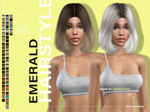 Sims 4 — LeahLillith Emerald Hairstyle by Leah_Lillith — Emerald Hairstyle All LODs Smooth bones Custom CAS thumbnail