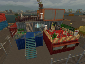 Sims 4 — Container restaurant by Anny_M4 — This is another part of Coast to Coast Collab, a Container restaurant in
