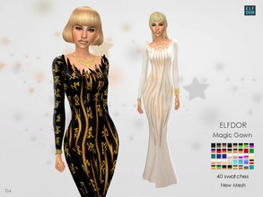 Sims 4 — Magic Gown by Elfdor — - 30 swatches - teen to elder - formal, party - base game compatible - maxis match Hope