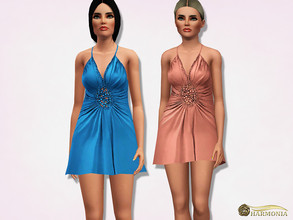 Sims 3 — Beaded Detail Babydoll Dress by Harmonia — Mesh Harmonia 3 color. recolorable Please do not use my textures.