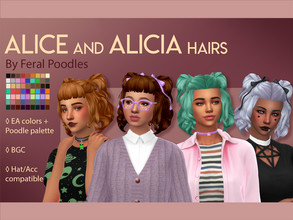 Sims 4 — Alice Hair by feralpoodles — A cute curly bob with little pigtails and baby bangs! Bows accessory shown in the