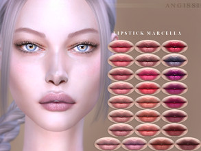 Sims 4 — Lipstick Marcella by ANGISSI — Previews made with HQ mod -25 colors -HQ compatible -All ages/male/female -Custom