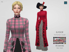 Sims 4 — Victorian coat by Elfdor — - 45 swatches - teen to elder - everyday, formal, party - base game compatible -