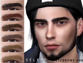 Sims 4 — Eyebrows N88 by Seleng — Male 10 colours Custom Thumbnail The picture was taken with HQ mod Happy Simming!