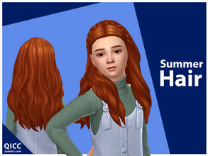 Sims 4 — Summer Hair by qicc — Enjoy! - Maxis Match - Base game compatible - Hat compatible - Child - 9 EA swatches