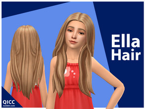 Sims 4 — Ella Hair by qicc — Enjoy! - Maxis Match - Base game compatible - Hat compatible - Child - 9 EA swatches