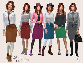 Sims 4 — WelcomeFall 2 by Paogae — Funny suede skirt with fringes and studs at the waist, it comes in six colors suitable