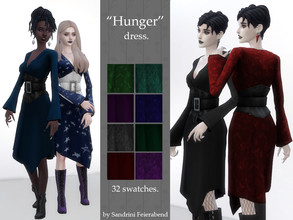 Sims 4 — Hunger Dress by Sandrini_Feierabend — Modern vampy or witchy dress with corset belt. It is named after classic