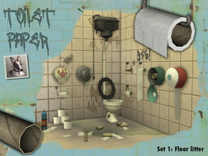 Sims 4 — Toilet Paper - Set 1: Floor Litter by Cyclonesue — A collection of litter and other bathroom floor clutter for