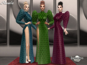Sims 4 — Frusila dress by jomsims — Frusila dress Dress Sims 4 for her in 4 shades. slit haute couture dress. very puffed