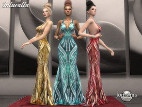 Sims 4 — Inluealla dress by jomsims — Inluealla dress Dress Sims 4 for her in 4 shades. long gala dress. embroidery and