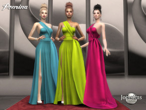 Sims 4 — Ponrina dress by jomsims — Ponrina dress Dress Sims 4 for her in 9 shades slit gala dress. with train on the