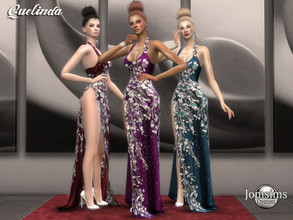 Sims 4 — Quelinda dress by jomsims — Quelinda dress Dress Sims 4 for her in 3 shades. long slit gala dress with
