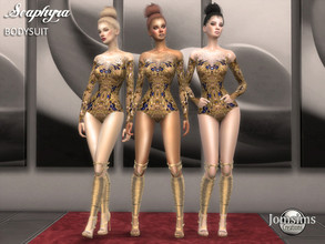 Sims 4 — Seaphyra bodysuit by jomsims — Seaphyra bodysuit for her. body only in embroidery, precious stones and sequins.