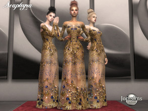 Sims 4 — Seaphyra dress by jomsims — Seaphyra dress For her. haute couture dress. semi transparent. sequins, precious