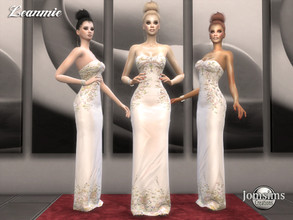 Sims 4 — Leanmie dress by jomsims — Leanmie dress For her evening dress bare shoulder. off-white color. embroidery Happy