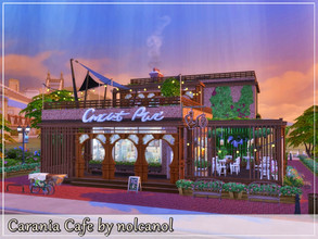 Sims 4 — Carania Cafe by nolcanol — Carania Cafe is a cafe with two styles. From the outside, to fit in with its