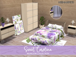 Sims 4 — Sweet Carolina Bedroom {Mesh Required} by neinahpets — A lovely purple watercolor bedroom set. Set Includes: Bed