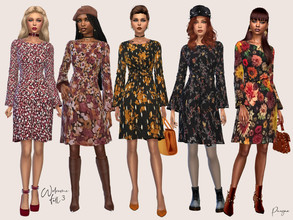 Sims 4 — WelcomeFall 3 by Paogae — Nice dress with flared skirt and sleeves, in five floral patterns, really trendy this