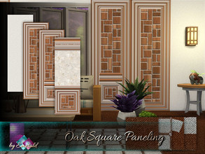 Sims 4 — Oak Square Paneling by Emerald — Enhance your rooms with these wood oak paneling designs in a gorgeous way to