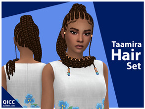 Sims 4 — Taamira Hair Set by qicc — Enjoy! - Maxis Match - Base game compatible - Hat compatible - Teen - Elder - 18 EA