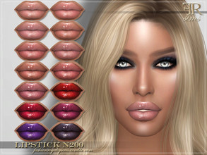 Sims 4 — FRS Lipstick N200 by FashionRoyaltySims — Standalone Custom thumbnail 14 color options HQ texture Compatible