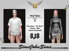 Sims 4 — Wolf Tattoo by SimsJohnSims — - Wolf Tattoo - 1 Color - Base Game - The Sims 4 - Female + Male - Custom