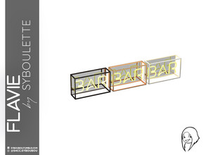Sims 4 — Flavie - Bar Neon Sign by Syboubou — This is a designed metal frame with neon sign in it. Its background mirror