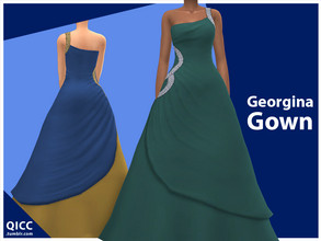 Sims 4 — Georgina Gown by qicc — Enjoy! - Maxis Match - Base game compatible - Teen - Elder - 10 solid swatches and 5