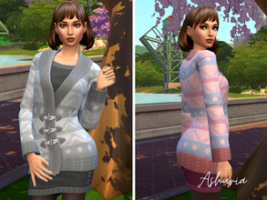 Sims 4 — Sweater Dress Recolored by Ashuria — This Nifty Knitting Sweater Dress came with lovely colors but I just wanted