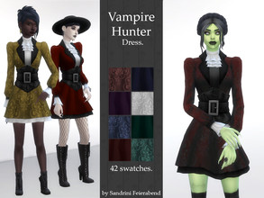 Sims 4 — Vampire Hunter Dress by Sandrini_Feierabend — Histirical inspired vampy or witchy dress with corset belt.