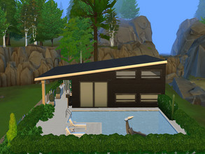 Sims 4 — Small family house with pool no cc by amlethesims — This is small family house with pool for 4 sims. It contains