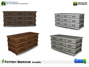 Sims 4 — kardofe_Pottery Bedroom_Dresser by kardofe — Industrial rustic style chest of drawers, in wood and metal, in