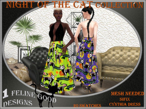 Sims 4 — Night of the Cat dress 03 by Merit_Selket — Night of the Cat Collection 20 swatches Teen - Young Adult - Adult -