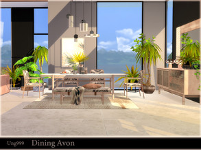 Sims 4 — Dining Avon by ung999 — A modern Dining Room set includes 10 following objects: Bench Throw Blanket for Bench