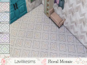 Sims 4 — Floral Mosaic by lavilikesims — An intricate mosaic pattern with a floral feel, in 6 swatches Pink, Yellow,