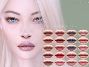 Sims 4 — Lipstick Dina by ANGISSI — Previews made with HQ mod -20 colors -HQ compatible -All ages/male/female -Custom