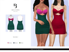 Sims 3 — Twist Cut Out Mini Dress  by Bill_Sims — YA/AF Everyday/Formal Available for Maternity Recolorable - 2 Channels