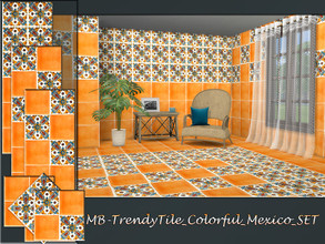 Sims 4 — MB-TrendyTile_Colorful_Mexico_SET by matomibotaki — MB-TrendyTile_Colorful_Mexico_SET, bright and colorful tile